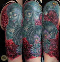 Corpse Bride Flower armsleeve in prog. by 2Face-Tattoo