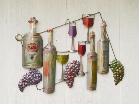 Wine and Glasses large by GreatLakesMetalWorks