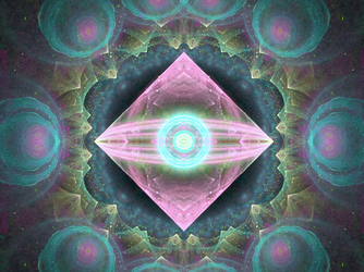 pink purple teal brown symmetrical fractal by TanithLipsky