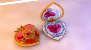 Sailor Moon Heart Compact Brooch open by digitalAuge