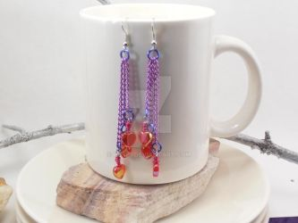3 Tiered drop earrings w/hearts by purp1
