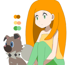 Red Head Girl with Rockruff by AuroraMisa