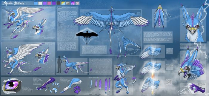 Aquilla Skyranger Gryphon Detailed Ref Sheet by lupinemoonfeather