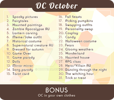 Oc october prompt list by rieule
