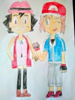 Ash and Serena Dressed as Each Other by SuperSmash6453