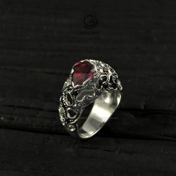Silver Ring with Ruby by GatoJewel-DerKater