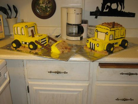 Loader and dump truck cake by FloppyTy