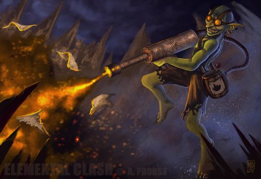 ELEMENTAL CLASH Goblin Arsonist by marcbornhoeft