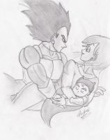Vegeta Bulma and baby Trunks by dbzsisters