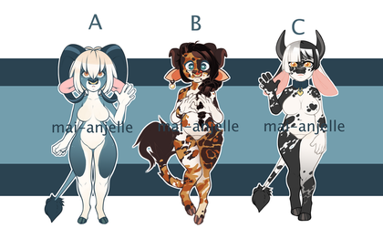 Anthro Adopts - Cow Girls Batch 1 [CLOSED] by mai-anjelle