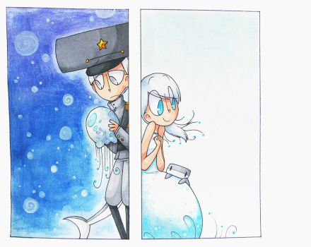 The Jellyfish and the Shark by kurisquare