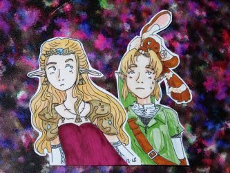 Link, Mia and Zelda cut outs by evangeline40003