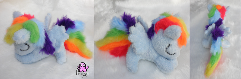 Sleeping Rainbow dash filly by PinkuArt