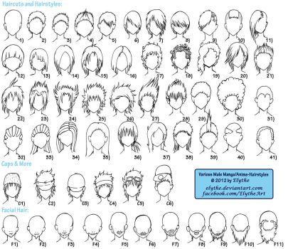 Various Male Anime+Manga Hairstyles by Elythe