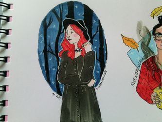 Red Haired Witch - INKtober 1 by aoutramafalda