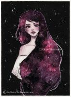 Day10 Inktober- Galaxy hair series 2/4 by ARiA-Illustration