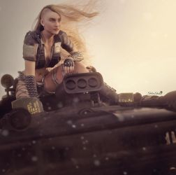 Post-Apocalyptic Blonde Woman, Sci-Fi 3D-Art by shibashake