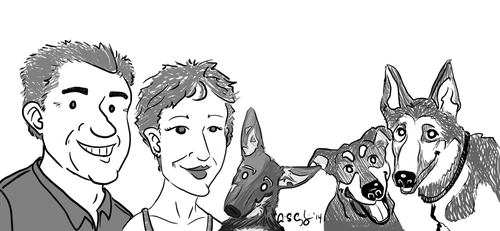 Mom, Mike, and the Pups by technosapien