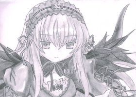 Suigintou (Rozen Maiden) - Pencil Drawing by WebbyMoto
