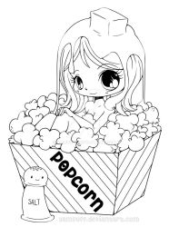 Popcorn Girl Lineart by YamPuff