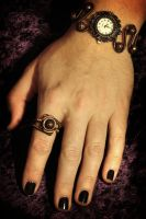 Steampunk Victorian Jewelry Set - Watch and Ring by CatherinetteRings