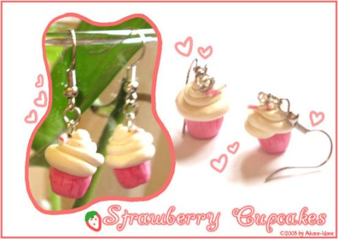Strawberry Cupcake Earrings by Akane-Idane