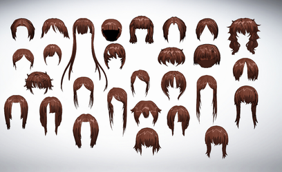 MMD Hair Front Pack 6 by amiamy111