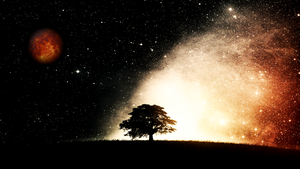 Tree and Stars with Moon theme by Linux-Shines
