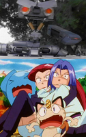 Johnny 5 V Jessie, James and Meowth of Team Rocket by ChipmunkRaccoonOz