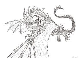 Dragon lineart by Ruth-Tay