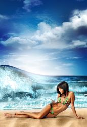 beach girl with phone by zeolyte