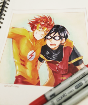 Flash and Robin by luluteatime