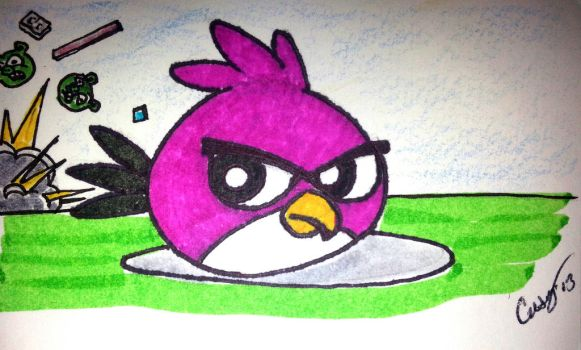 Angry Pink Bird by heartking52