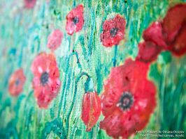 Field of Poppies, acrylic painting closeup view by NoirArt