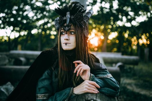 Woman-shaman with horns in  dress walk in forest by Black-Bl00d