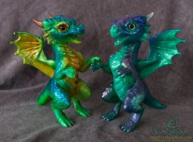 Peacock and Stardust Galaxy Dragon Hatchlings by The-SixthLeafClover
