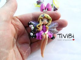 Witch Jewelry clay necklace Lovely Fairy OOAK by tivibi