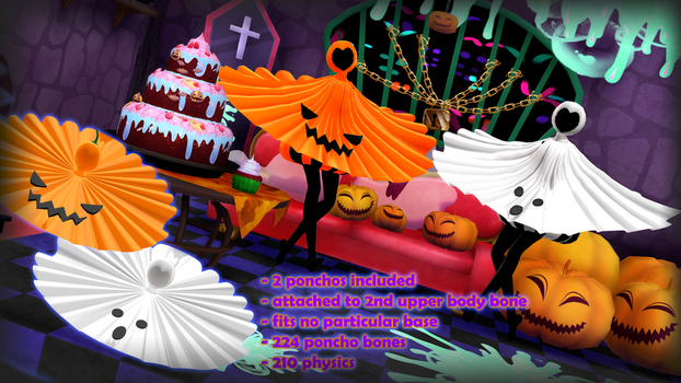 Pumpkin and Ghost poncho DOWNLOAD DL by HoshichoM