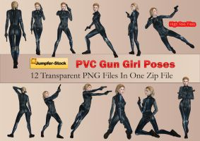 PVC Gun Girl Poses PNG Stock Pack by Roy3D