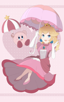 Super Smash Bros Ultimate - Peach and Kirby Print by chocomiru02