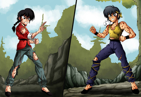Ranma Vs Ryoga by AndronicusVII