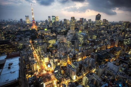 tokyo tower city view by aaronchoiphoto