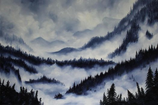 Misty Mountain Range by crazycolleeny