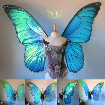 Giant Blue Morpho Iridescent Fairy Butterfly Wings by FaeryAzarelle