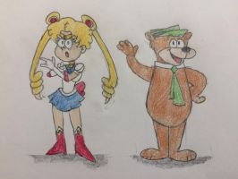 Sailor Moon and Yogi Bear (TLH style) by JJSponge120
