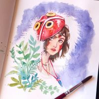 Mononoke Hime Watercolor by Ross-86