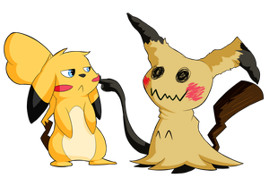 Mimikkyu and Pikachyu by pkmnMasterWheeler