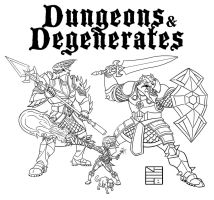 Dungeon and Degenerates 2 LINEART WIP by IADM