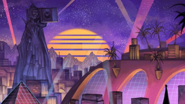 S y n t h w a v e City by DoctorChibi