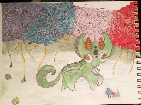 Evergreen in the colorful forest (Katragoon DTE) by HyruleZelda4